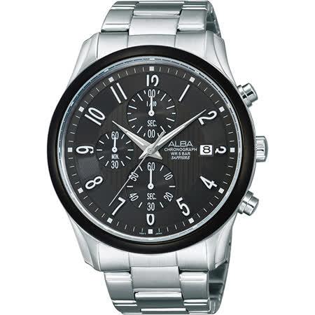 ALBA 自由之心時尚三眼計時腕錶-灰黑/43mm VD57-X050N(AM3161X1)
