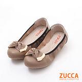 ZUCCA【Z6025CL】皺褶朵結金屬娃娃鞋-駝色