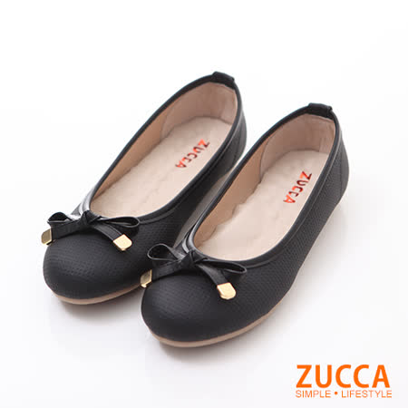 ZUCCA【Z6026BK】清新緞面朵結娃娃鞋-黑色
