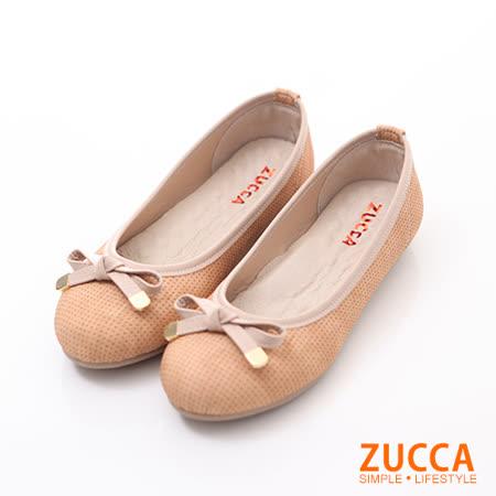 ZUCCA【Z6026CL】清新緞面朵結娃娃鞋-駝色
