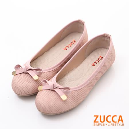 ZUCCA【Z6026PK】清新緞面朵結娃娃鞋-粉色