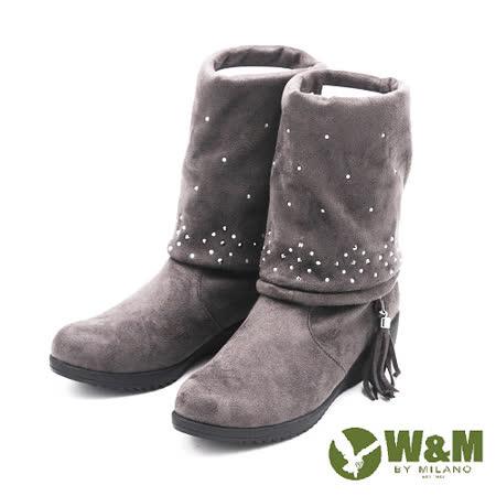 W&M 秋冬绒面水鑽粗跟中筒靴 女鞋-灰(另有黑)