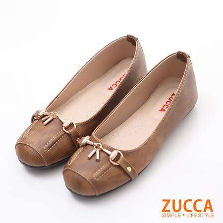 ZUCCA【Z6030CE】雙金屬繩扣方型平底鞋-棕色