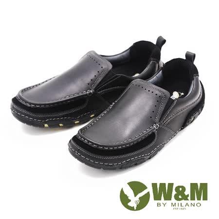 W&M 舒適休閒直套式真皮 男鞋-黑(另有咖)