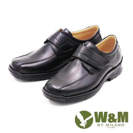 W&M 真皮魔鬼氈休閒皮鞋 男鞋-黑