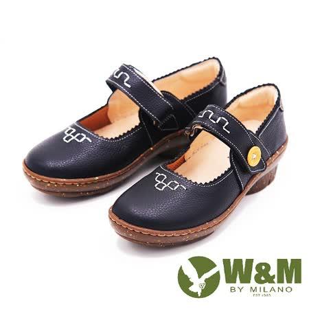 W&M 圓頭厚底坡跟復古娃娃鞋 女鞋-黑(另有咖)