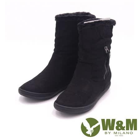 W&M 秋冬時尚閃亮水鑽飾帶短筒雪靴 女鞋-黑(另有藍)