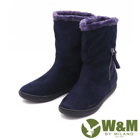 W&M 秋冬時尚閃亮水鑽飾帶短筒雪靴 女鞋-藍(另有黑)