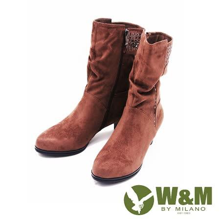 W&M 秋冬時尚摩登水鑽麂皮中筒靴 女鞋-可可(另有鐵灰)