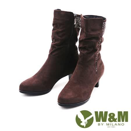 W&M 秋冬時尚摩登水鑽麂皮中筒靴 女鞋-鐵灰(另有可可)