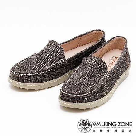 WALKING ZONE 線條混搭色直套懶人鞋女鞋-黑(另有咖)