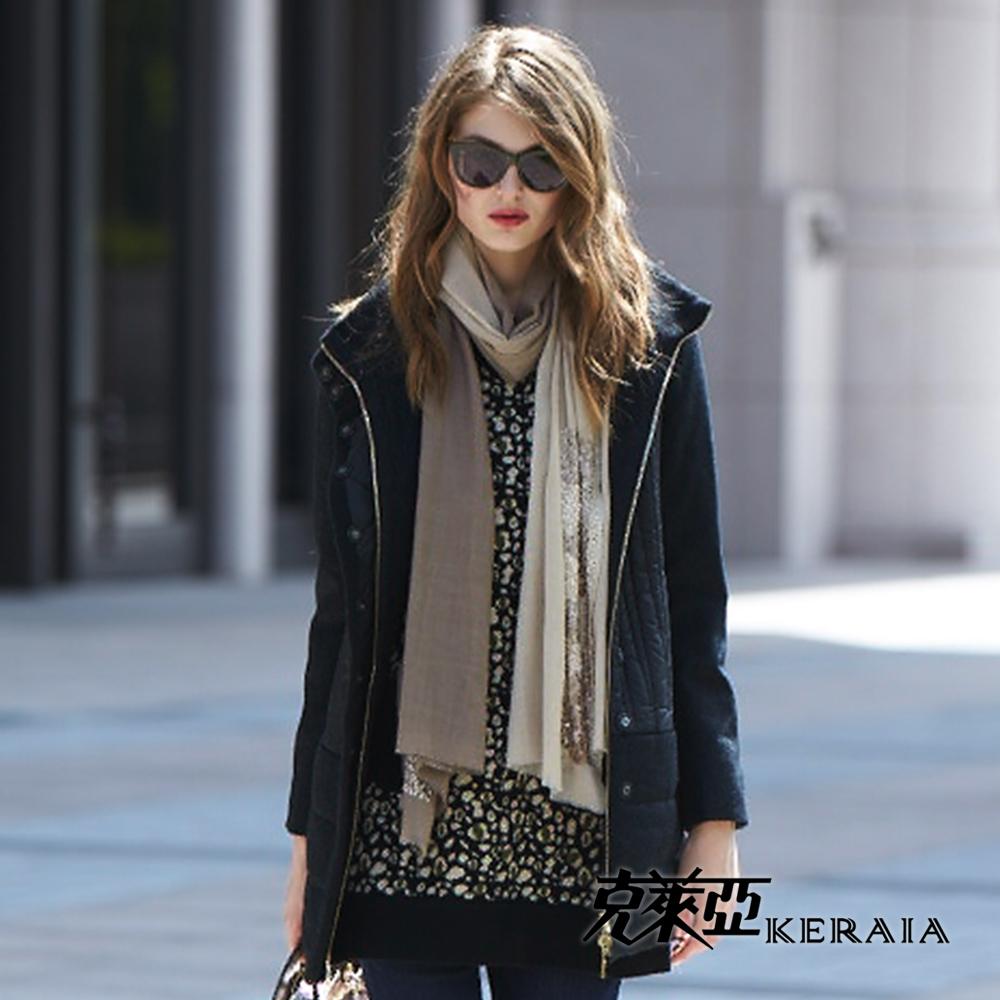 克萊亞KERAIA 雙口袋斑紋長版上衣