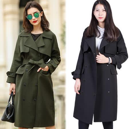 【韓國KW】倫敦風情收腰寬鬆版風衣外套(在台現貨)