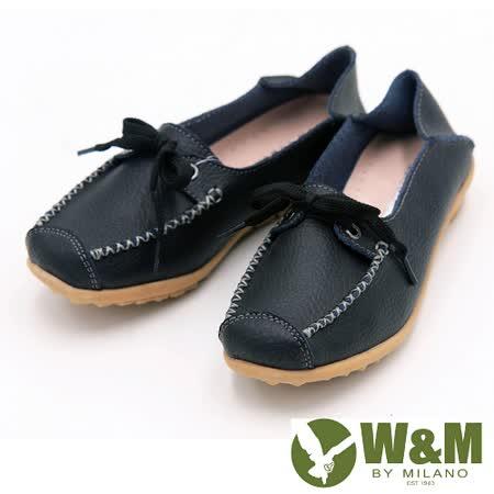 W&M 經典百搭可踩式豆豆鞋女鞋-黑(另有藍)