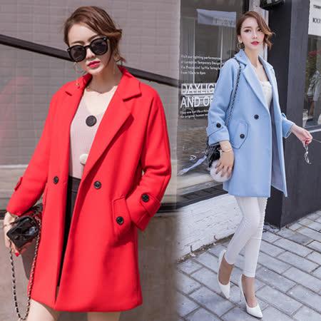 【韓國KW】學院風簡約釦飾毛呢外套(現貨在台)