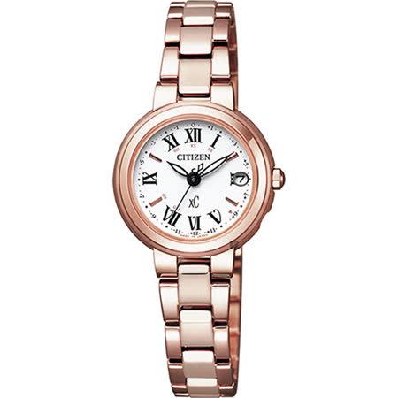 【CITIZEN 星辰】XC 光動能羅馬電波女用腕錶(24mm/ES9002-58A)