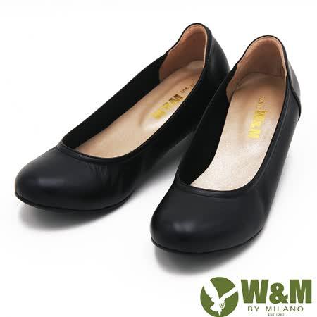 W&M 高雅線條素面中跟 女鞋-黑