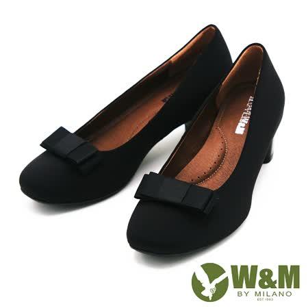 W&M 絨面典雅蝴蝶結中跟 女鞋-黑(另有藍)