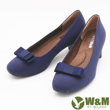 W&M 絨面典雅蝴蝶結中跟 女鞋-藍(另有黑)