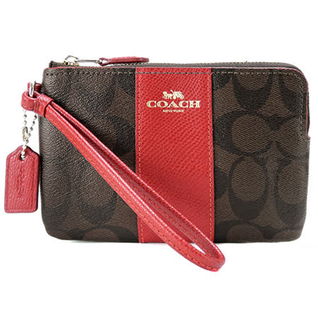 COACH 馬車直紋燙金防刮L拉鍊手拿包(巧克力紅)