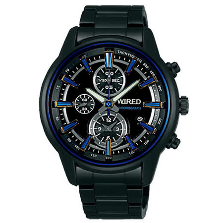 WIRED 忍者光影超炫麗設計不鏽鋼腕錶/黑-44mm-7T92-X260B