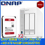 QNAP 威聯通 TS-231P 2Bay NAS+WD 6TB NAS碟 2 WD60EFRX