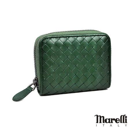 【Marelli】經典編織小羊皮拉鍊短夾 墨綠色(ZM018-2)