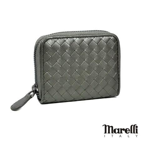 【Marelli】經典編織小羊皮拉鍊短夾 鋼鐵灰(ZM018-3)
