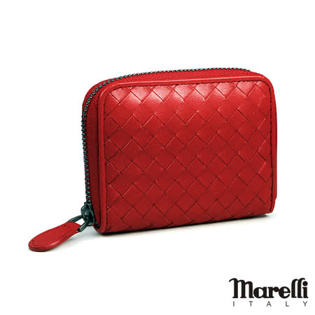 【Marelli】經典編織小羊皮拉鍊短夾 大紅色(ZM018-4)