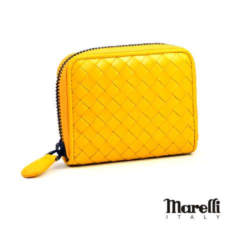 【Marelli】經典編織小羊皮拉鍊短夾 黃色(ZM018-5)