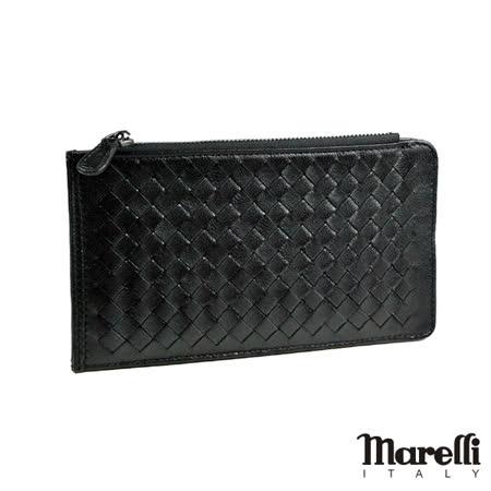 【Marelli】時尚編織小羊皮名片長夾 黑色(ZM019-1)