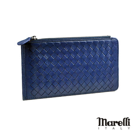 【Marelli】時尚編織小羊皮名片長夾 寶石藍(ZM019-2)