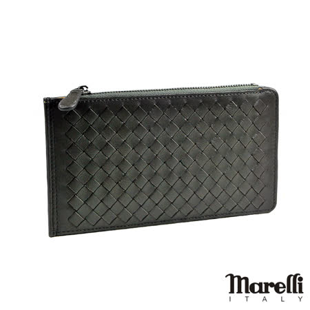 【Marelli】時尚編織小羊皮名片長夾 鋼鐵灰(ZM019-3)