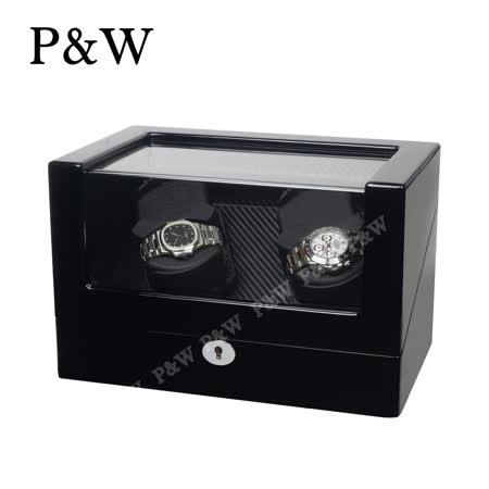 【P&W手錶自動上鍊盒】 【木質鋼琴烤漆】碳纖維紋 4支裝 5種轉速 4種模式 機械錶專用 旋轉盒