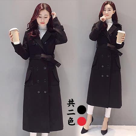 【韓國KW】時尚休閒韓風長版毛呢大衣