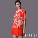 JESSICA-復古印花紋上衣(橘紅)