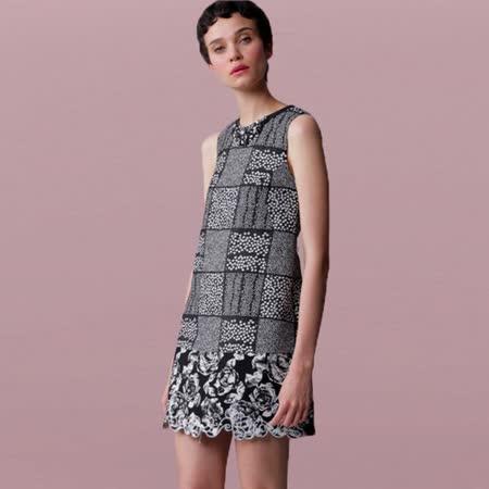 JESSICA- ?薔薇幾何格紋造型無袖洋裝 (黑)