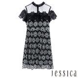 JESSICA RED-復古透膚蕾絲刺繡花朵修身洋裝(黑)
