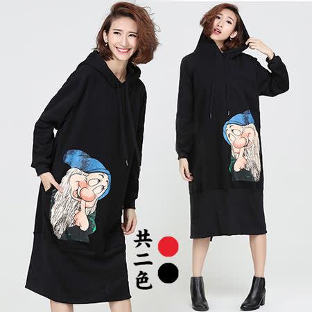 【韓國KW】童趣俏皮卡通長版寬鬆加絨連身裙