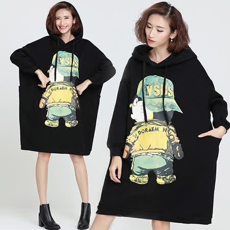 【韓國KW】可愛卡通加絨連帽連身裙