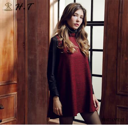 玄太-簡約細格紋半高領百搭顯瘦背心洋裝(紅)