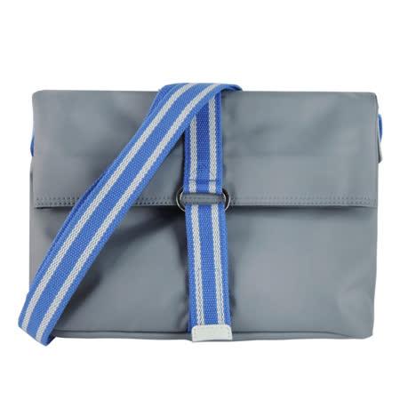 agnes b. 基本兩折尼龍斜背包(灰藍)
