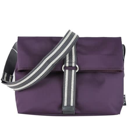 agnes b. 基本兩折尼龍斜背包(紫)
