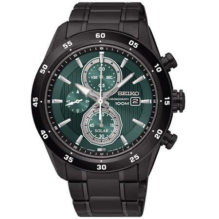 【SEIKO 精工】Criteria 綠色奇蹟三眼計時不鏽鋼腕錶(44mm/V176-0AR0G)