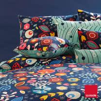 【La mode寢飾】秘密花園磨毛精梳棉兩用被床單組(雙人)