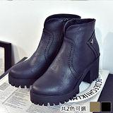 《JOYCE》帥氣有型復古風粗跟短靴
