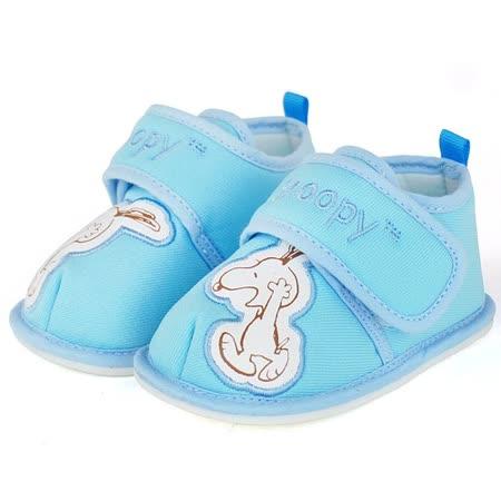 Snoopy史努比 輕量舒適防滑鞋面全布質寶寶鞋 515321-水