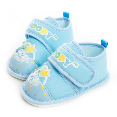 Snoopy史努比 輕量舒適防滑鞋面全布質寶寶鞋 515322-水