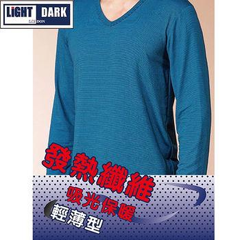 LIGHT&DARK 男V領條紋發熱衣(M~XL)