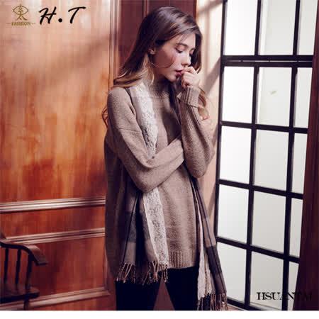 玄太-簡約半高領寬鬆保暖長版毛衣(褐)